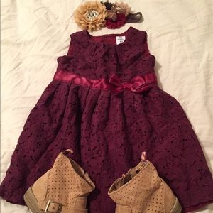 Infant Girl 12m Carter's Burgundy Lace Dress